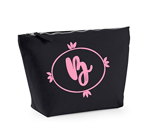 Personalised Initial - Custom - Fun Slogan, Make Up and Cosmetics Bag, Accessory Organiser Black/pink