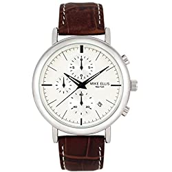 Mike Ellis New York Men's Quartz Watch with White Dial Analogue Display and Leather bronze - SM2960
