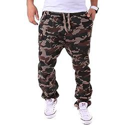Pantalón de chándal, diseño de camuflaje militar marrón Small