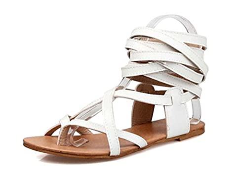 NobS Flip Flop Straps Boots Flat Open Toe Grande taille Sandales 33-48 Flats Women Roman Shoes , white , 45 (not returned)