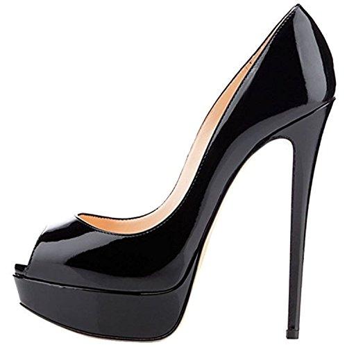 MIUINCY Schuhe Frauen High Heels Mode Open Toe Plattform Schuhe Lackleder Hochzeit Schuhe Pumps Red Nude Black Schuhe Heels- Gr. 43 EU (10 UK / 26.5cm), Nude