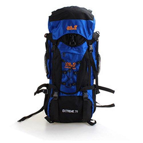 70L Wasserdicht Im Freien Sport Tasche Mit Stahl Rahmen Groß Reiten Rucksack Blue