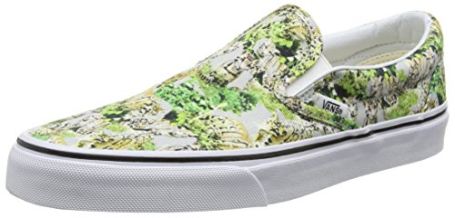 Vans Classic Slip-on Scarpe da Ginnastica Basse, Unisex Adulto Multicolore (chambray/leopard/true White)