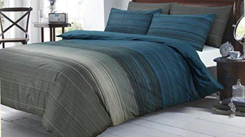 royyaltex 100% ägyptische Baumwolle Bettbezug, bedruckt Sets Betten Sets alle Größen, Grey Black Stripey, Super King (220L x 260W cm)