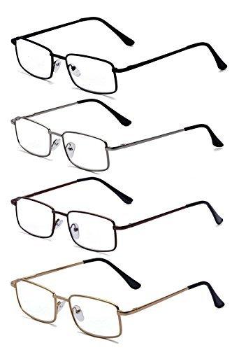 ALWAYSUV 4 Stück Metall Federn-Scharnier Lesebrille Klassische Lesehilfen Sehhilfen Brille 1.25