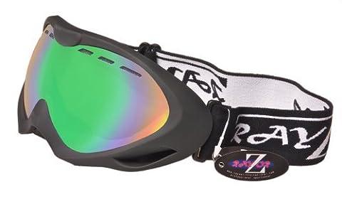 Rayzor professionnels UV400 doubles lensed ski / snowboard Lunettes, avec un cadre noir mat et un brouillard Anti couché, ventilé Bleu Vert Iridium miroir anti-éblouissement large clarté de vision Objectif