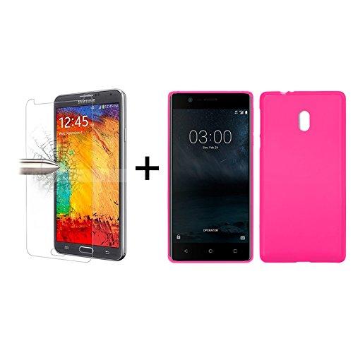 TBOC® Pack: Rosa Gel TPU Hülle + Hartglas Schutzfolie für Nokia 3 (5.0 Zoll) - Ultradünn Flexibel Silikonhülle. Panzerglas Displayschutz in Kristallklar in Premium Qualität.