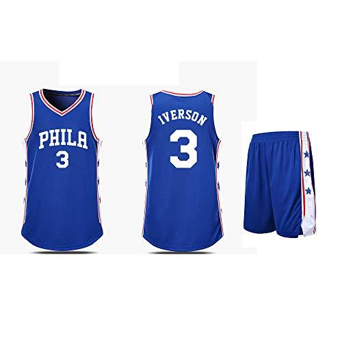 JERSE Philadelphia 76ers Allen Iverson # 3 - Klassisches ärmelloses Set, Basketball für Männer und Unisex-Körbchenanzug T-Shirt Hochtemperaturdruck Blau-5XL