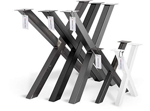 HOLZBRINK Tischkufen X-Form aus Vierkantprofilen 60x60 mm, x-förmiges Tischgestell 70x72 cm, Tiefschwarz, HLT-03-G-EE-9005 -