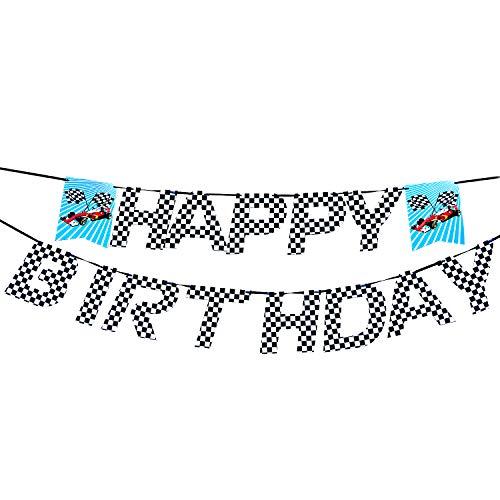 AMZTM Kariert Flagge Rennwagen Happy Birthday Banner - Party Zubehör Dekoration für Kinder Jungen Geburtstag Baby Shower (Schwarz und weiß)
