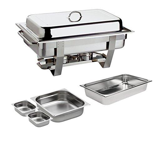 Chafing Dish 9L. Edelstahl inkl. 1x GN 1/1 2x GN 1/6 und 1x GN2/3 Speisewärmer Warmhaltegerät 9 Liter Chafing Dish