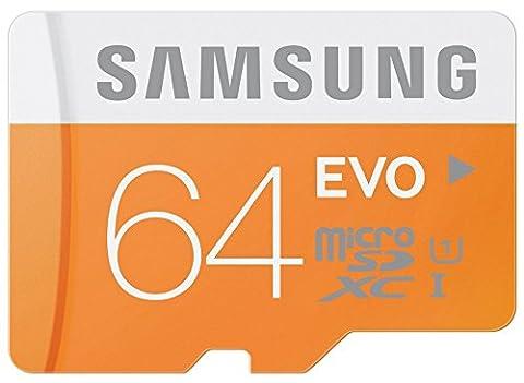 Samsung 64 Go Carte Mémoire EVO Micro SD SDXC Class 10 UHS-I carte mémoire, Jusqu