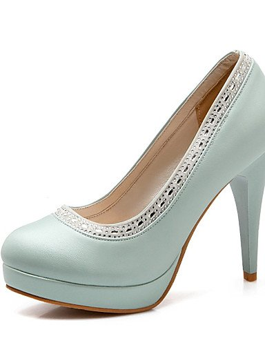 WSS 2016 Chaussures Femme-Mariage / Habillé / Décontracté / Soirée & Evénement-Bleu / Rose / Blanc-Talon Aiguille-Talons-Talons-Similicuir blue-us5.5 / eu36 / uk3.5 / cn35