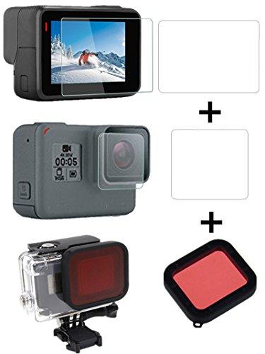 3 in 1 Zubehör Kit für GoPro Hero 5 Kamera Schutz Tempered Glass Screen + Tauchen Filter für Sport Kamera - InnoMagi Screen Filter Kit