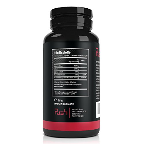 Push – Der Energy Booster   60 hochdosierte vegane Tabletten   Koffein, Guarana Extrakt, Grüner Tee Extrakt, Vitamin B3, Vitamin B12   Made in Germany