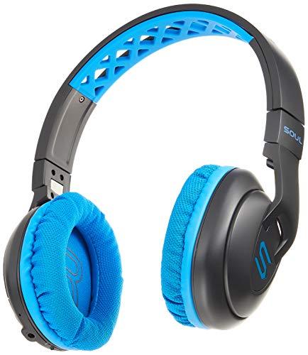 SOUL X-TRA kabellose Over-Ear kabellose Sport Kopfhörer mit Bluetooth 4.0 für Smartphones (iPhone X, Samsung Galaxy S9 uvm), blau