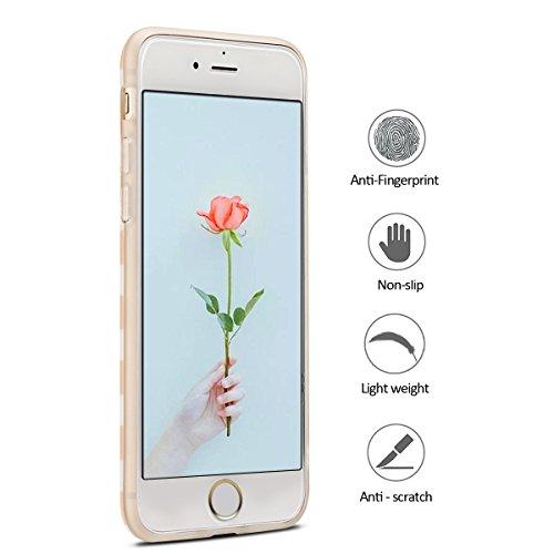 Coque iPhone 7 , Coque iPhone 8 , Etui Housse en Silicone Gel TPU de Protection Case Cover Souple Flexible Ultra Mince avec Cerf motif Mode Dessin pour Apple iPhone 7 / iPhone 8 (4.7 pouces) Enveloppe rayé Flamingo et Orange Rose