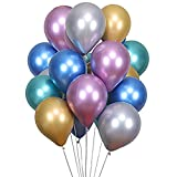 ODJOY-FAN 54 Stück Ballon, Metallisch Farbe Ballon Glänzend Metallisch Latex Ballons Zum Geburtstag Hochzeit Party Ballon Wohnaccessoires Balloons Metallic Latex Balloons (Multicolor,54 PC)