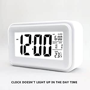 "HITO 6"" Alarm Clock w/ Date and Temperature Display, Repeating Snooze, Light-activated Sensor Light and Touch-activated Nightlight- Batteries/ USB powered (White)"