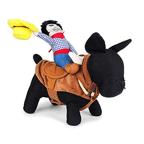 Für Muster Kostüm Puppen 18 - YOUNICER Haustier Hund Kostüm Cowboy Reiter Hund Kleidung für Hunde Outfit Ritter Stil w/Puppe Hut Haustier Kostüm S/M/L