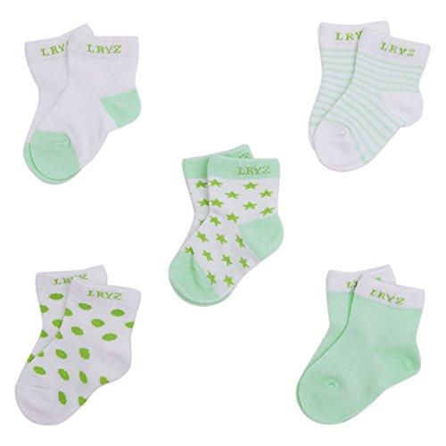 CHIC-CHIC 5 Paare 0-36 Monate Säugling Baby Jungen und Mädchen Unisex Kleinkind Fuß Socken Streifen Tropfen Einfarbig (0-12 Monate, Grün)