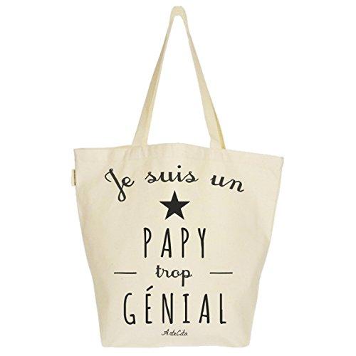 Grand Sac Cabas Fourre-tout Imprimé Toile Bio 37x45x20cm Tote Bag XL - Je suis un Papy trop génial