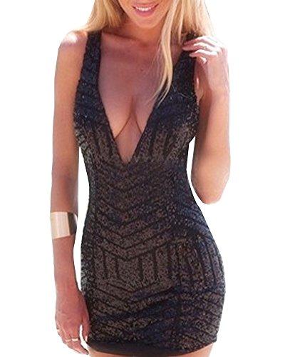 Vestiti Donna Sexy Sequin Scollo a V Minigonna per