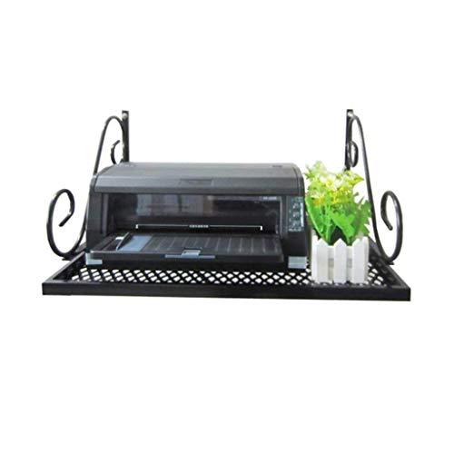 Estante de impresora colgante de pared multifuncional simple Estantería de hierro de pared negra Estante de pared de 2 capas Estante de horno de microondas Estante de horno de montaje en pared de 2 ni