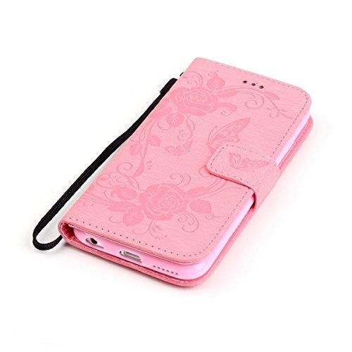 iPhone 6S Plus Hülle Case,iPhone 6 Plus Hülle Case,Gift_Source [Card Slot] [Kickstand Feature] Premium Luxury PU Leder Flower Butterfly Brieftasche Hülle Case Folio Flip Hülle Case Mit Strap für iPhon E01-06-Pink