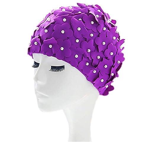 Misssoul Floral vintage de natation Chapeaux pour femmes filles fleurs en tissu faite à la main Pétale de style rétro Papillon Cheveux longs Bonnet de bain Spa Bain L violet