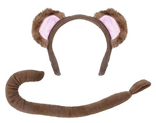 Affe Set (Ohren + Schwanz) Kostüm für Animal Affe Kostüm Outfit Satz (Outfit Affen)
