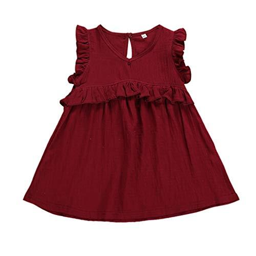 sunnymi  ® 0-3 Jahre Kleid Baby Mädchen Feste Fliegen Hülsen Partei-Prinzessin Dresses Clothes - Patriotische Damen-lange Hülse