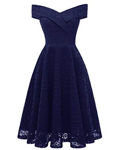 Mode Brautjungfer Kleider (Laorchid Mode Damen Spitze Abendkleider Brautjungfern Kleid Cocktail Party Ärmlos Navy XXL)