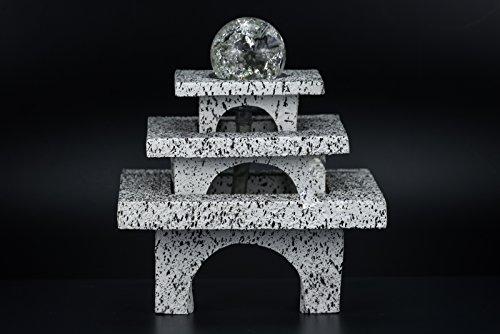 floristikvergleich.de Dekobrunnen Wasserbrunnen Brunnen deko Avalon mit Glas Kugel Deko Säule Garten Dekoration