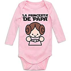 Body de Manga Larga para bebé - La Princesita de Papa - Regalo para Padre 6M Rosa