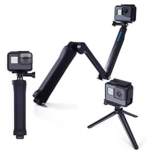 3 Way Mount for GoPro Hero All Models / SJCAM – Monopod Extension Arm for Action Camera – 3-in-1 Selfie Stick Hand Grip and Tripod for Sport Cameras – Ideal to Capture each Moment in Action – Includes 1/4'' Adapter for Sony / Xiaomi – Ultra Compact – Black by DiveMose