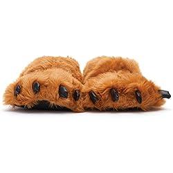 Sleeper'z – Pata de oso marrón – Zapatillas de casa animales con garras originales y divertidas – Adultos y Niños - Hombre y Mujer – 2X