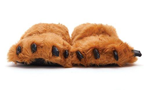 Sleeper'z Hausschuhe Braun Monster Kralle - Rutschfeste Lustig Plüsch Tierhausschuhe - Größe (Kostüme Wildes Ideen Tier)