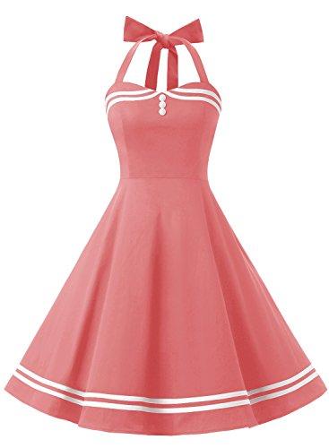 Timormode Rockabilly Kleider Neckholder 50s Vintage Kleid Retro Knielang Kleider Damenkleider Festlich Cocktailkleider 10387 Koralle L