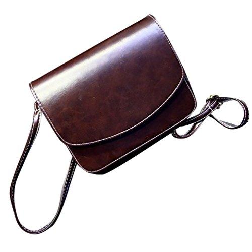 Baymate Donne Colore Puro Shopping Bag Elegante Borsa A Tracolla Marrone scuro