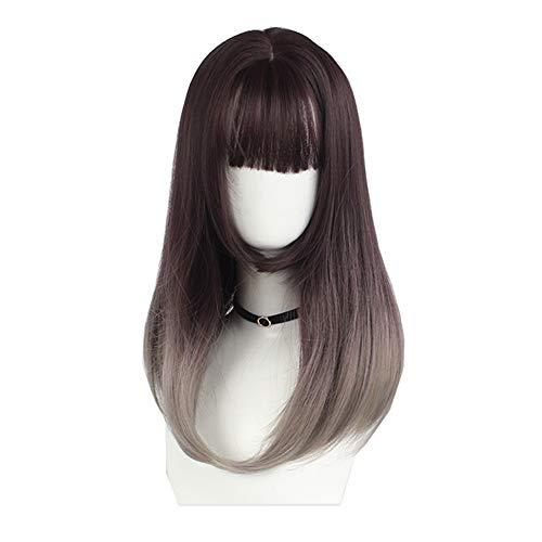 Lichter Faser Kostüm Optik Für - Perücke Kurze Party Haare Hitzebeständige Cosplay Synthetische Perücke (Color : Blue-gray, Size : 45cm)