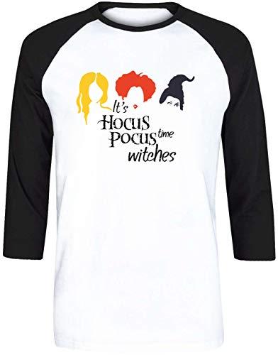 It's Hocus Pocus TIME Witches - Hocus Pocus Halloween Herren Weiß Schwarz Baseball T-Shirt 3/4 Ärmel Größe S | Men's White Black Baseball T-Shirt Size S