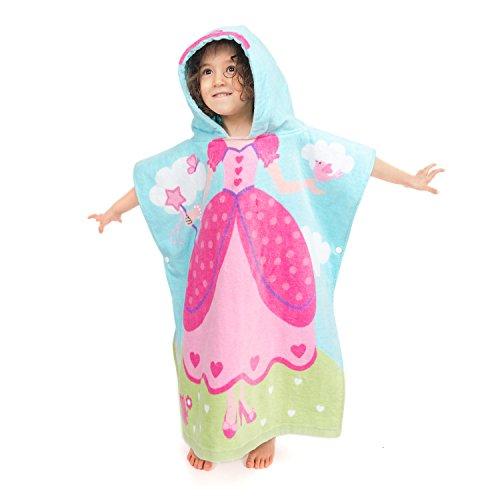 Florica Kinder Baumwolle Poncho Kapuzen Badetuch Bademantel Schwimmen Strand Tuch Weich Trocknend Cartoon für Mädchen Jungen (Prinzessin, 140cm x 60cm)