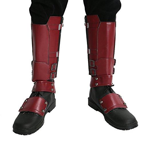 Nexthops Deadpool Schuhe Cosplay Stiefel Glattleder Wade Kostüm Zubehör für Party, Karneval und Fasching aus Leder Rot 2er Set (Deadpool Kostüme Zubehör)