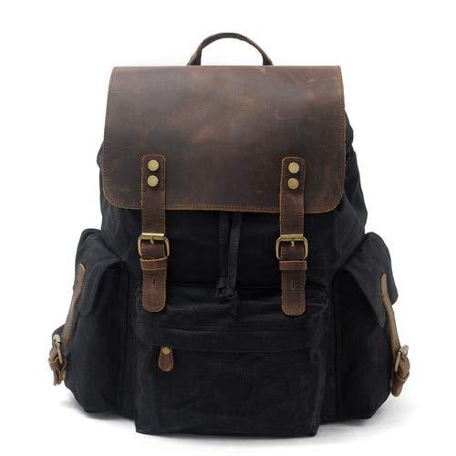 RTMN Mochila Lona Cuero Unisex Mochilas De Gran Capacidad Impermeable Vintage Daypacks Retro Escuela Bolsa Adolescente Negro