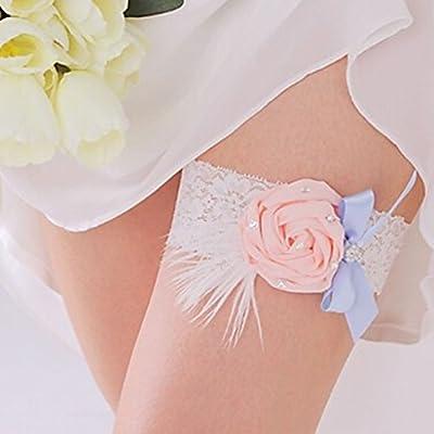 Charmant Feder Blume Blau Bowknot Elastische Spitze Braut Hochzeit Abschlussball Strumpfband