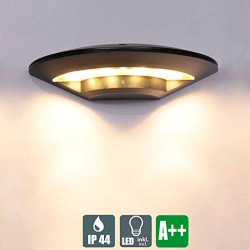 LED Wasserdichter Außenwandleuchte, Modern Kreative Wandlampe, Schwarz Aluminium Design Strahler, Minimalistischen Innen und Außen Wandspot, Einzigartige Außenbeleuchtung, 8W 600 LM, Warmweiß-Licht