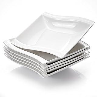 Malacasa FLORA 6pcs Assiettes Creuse à Soupe Pâte en Porcelaine 21 * 22 * 4.5cm Service de Table Vaisselles Design Mode