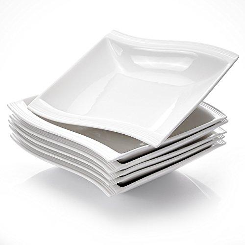 Malacasa FLORA 18pcs Assiettes Creuse à Soupe Pâte en Porcelaine 21 * 22 * 4.5cm Service de Table Vaisselles Design Mode