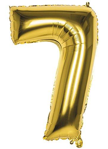 TH-MP XXL Folienballon Zahlen Geburtstag Jubiläum Abschluss Deko Party Feier Dekoration Ballons (Nr. 7 (86 cm), Gold)